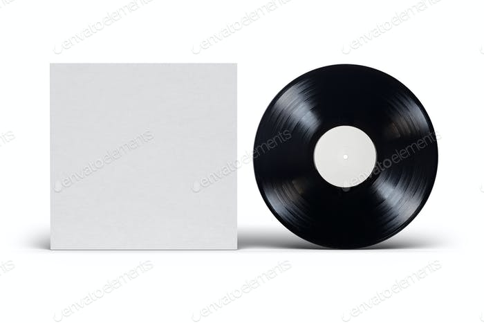 Vinyl LP record with cardboard cover on white background.