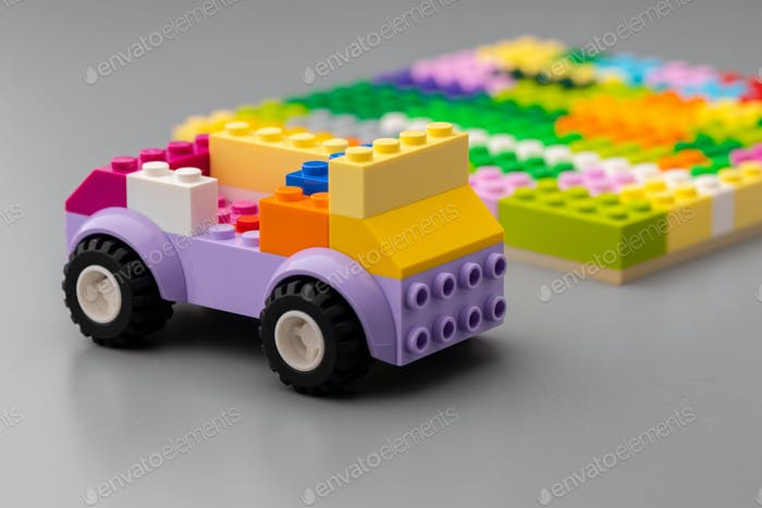 Close up of colorful toy constructor details