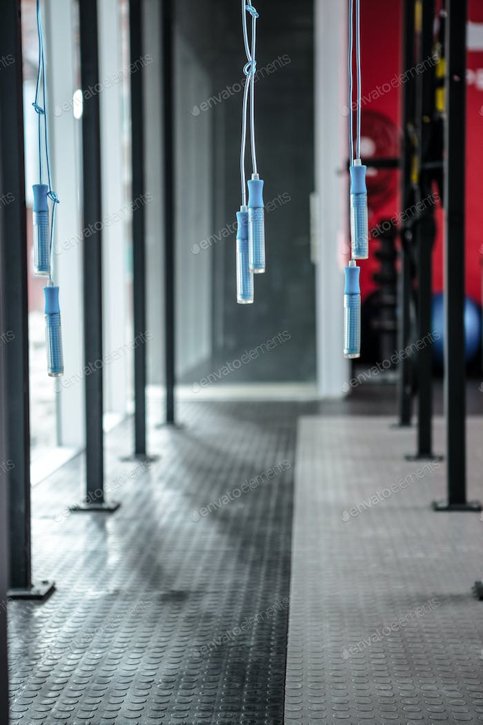 Hanging jump rope in the crossfit gym