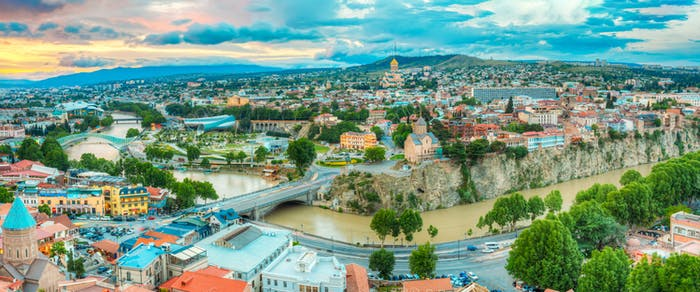 Panoramic Top View Of Tbilisi Center, Georgia, Famous Landmarks,