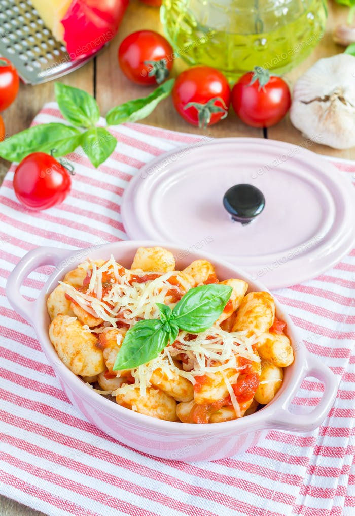 Homemade potato gnocchi with tomato basil sauce