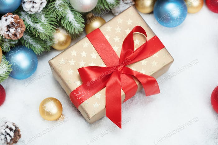 gift box with christmas decoration