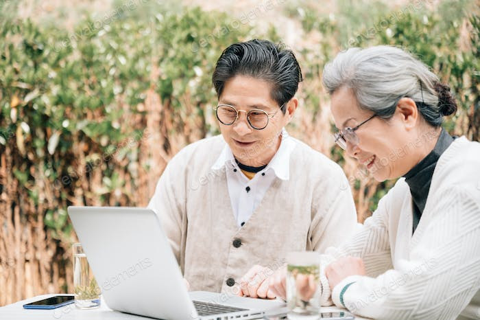 Senior Couple using laptop in the yard