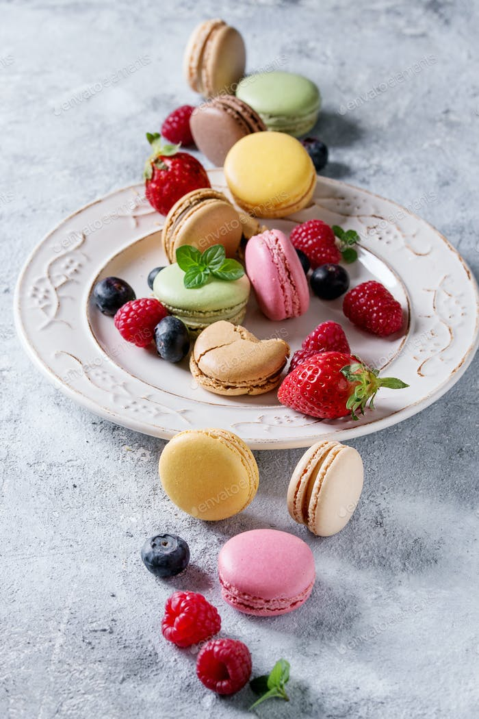 Variety of french dessert macaroons