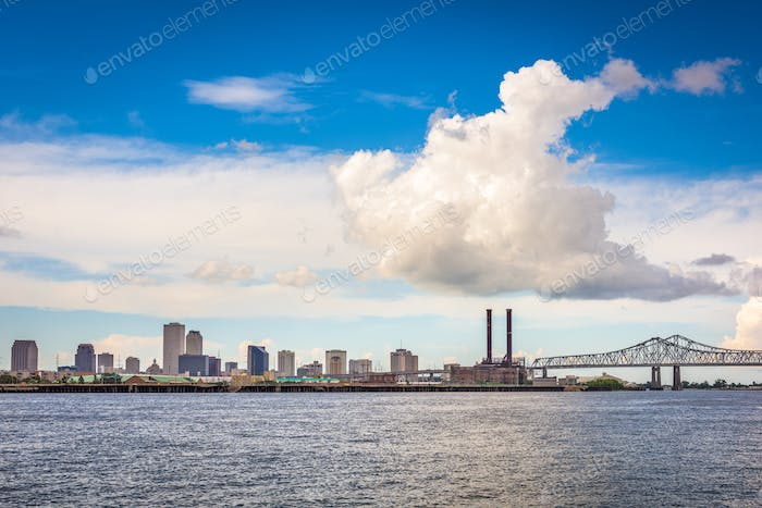 New Orleans, Louisiana, USA downtown city skyline on the Mississ