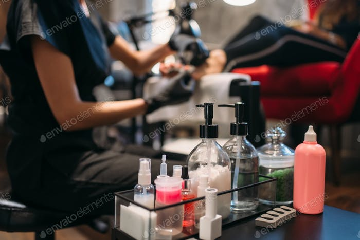 Professional nail care tools in beauty salon