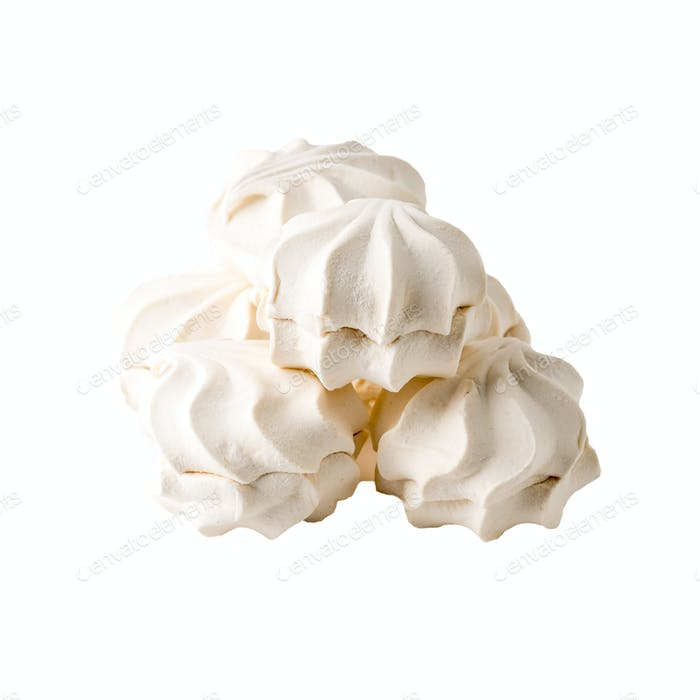 Vanilla souffle, marshmallow or zephyr isolated on white background