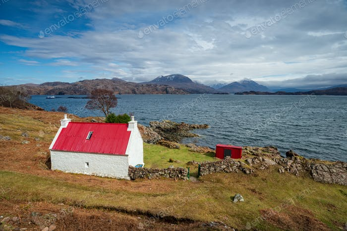Cottage on the shore of Loch Shieldaig in Scotland