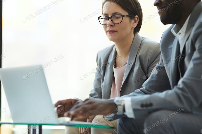 Analyzing sales statistics on laptop
