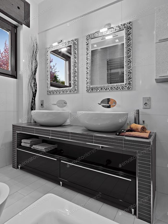 Modern Bathroom Interior with Bathtub