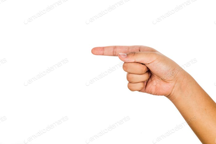Hand pointing direction against white background.