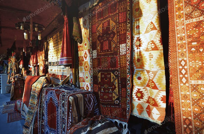 Carpet shop at the street market. Istanbul, Turkey