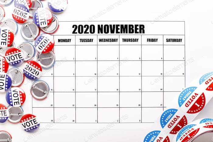 Calendar with copy space, pins and stickers with patriotic text I voted today
