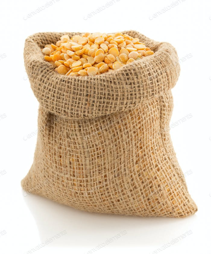 pea grain in sack bag on white
