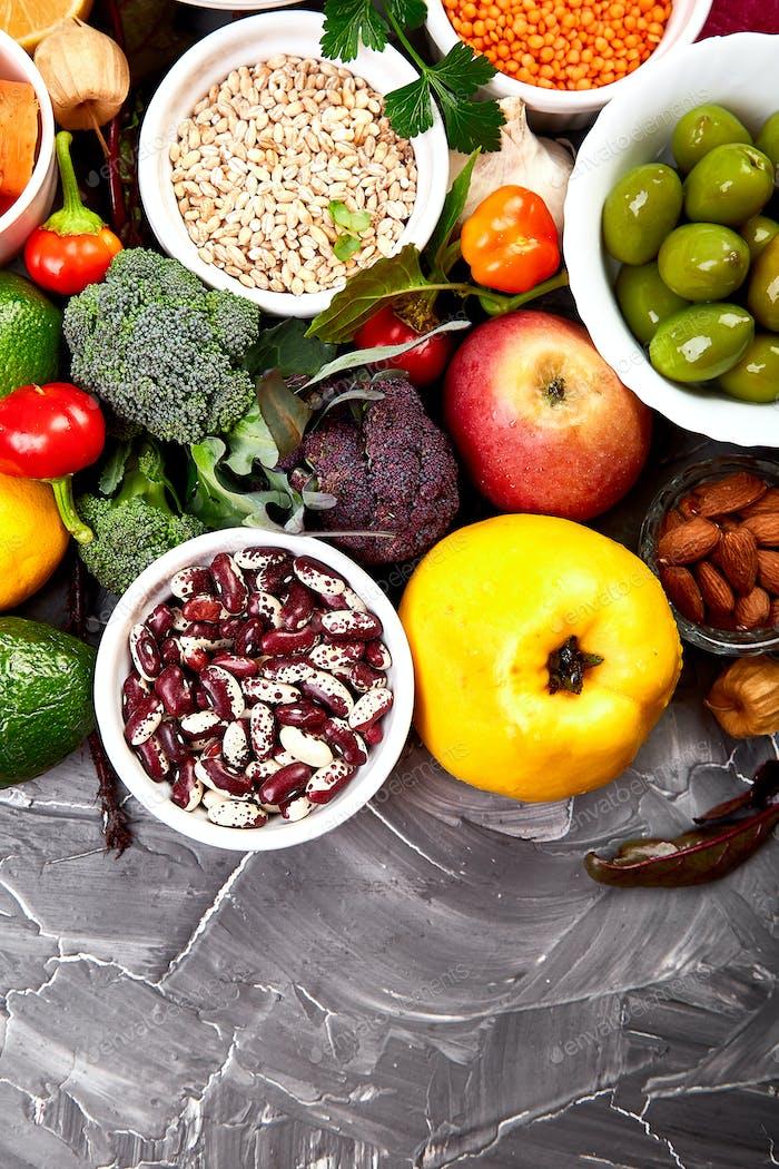 Healthy vegan food. Assortment of organic foods