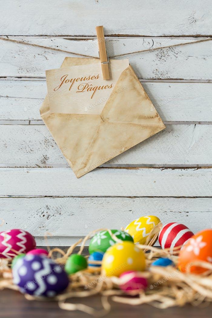 Easter eggs and decorative raffia