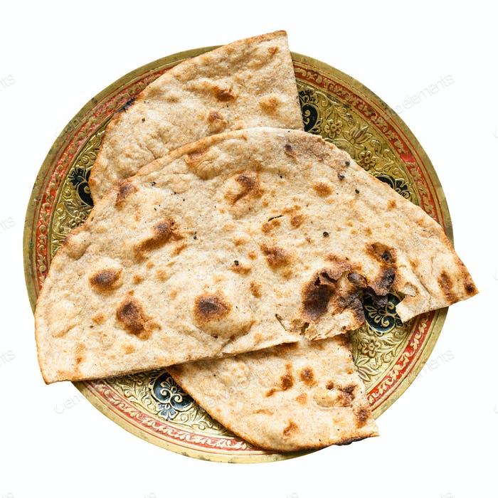 Tandoori Roti whole wheat flat bread isolated