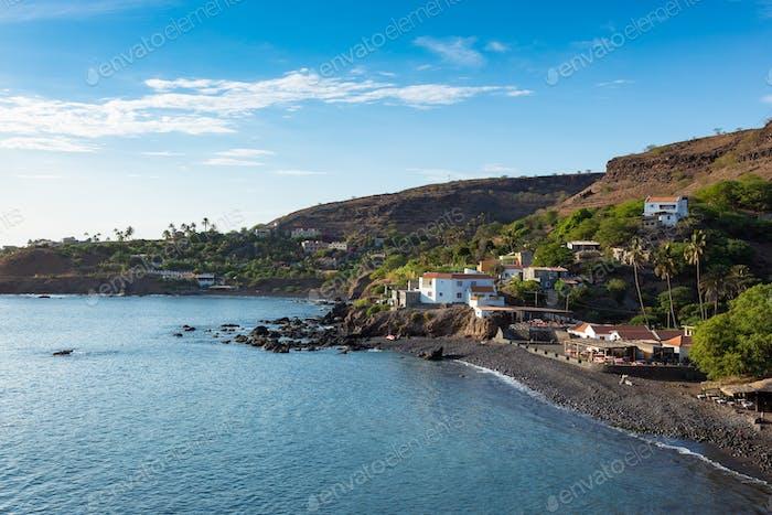 Aerial view Cidade Velha city beach  in Santiago - Cape Verde -
