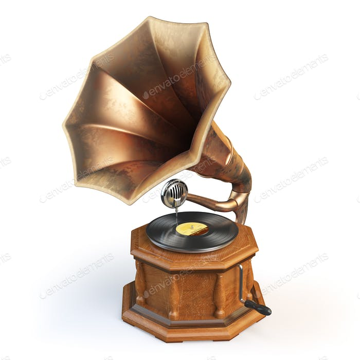 Vintage gramophone isolated on white.