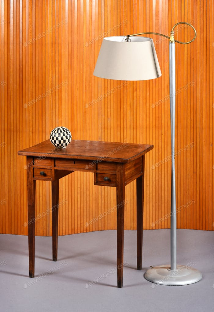 Retro Metal Floor Lamp and Wood Desk with Globe