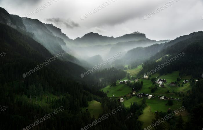 Dark and gloomy atmosphere in the mountains
