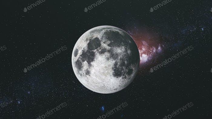 Moon orbit floodlight surface milky way background