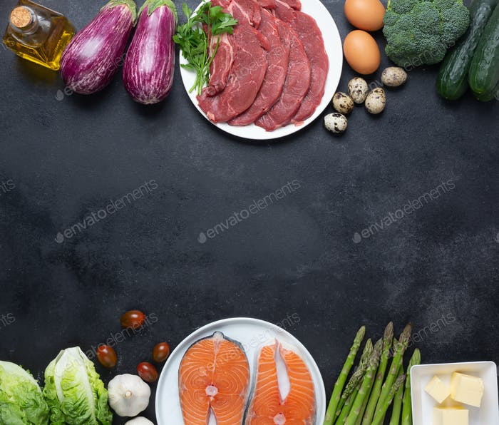 Atkins Diet food ingredients on balck chalkboard, health concept, top view with copy space