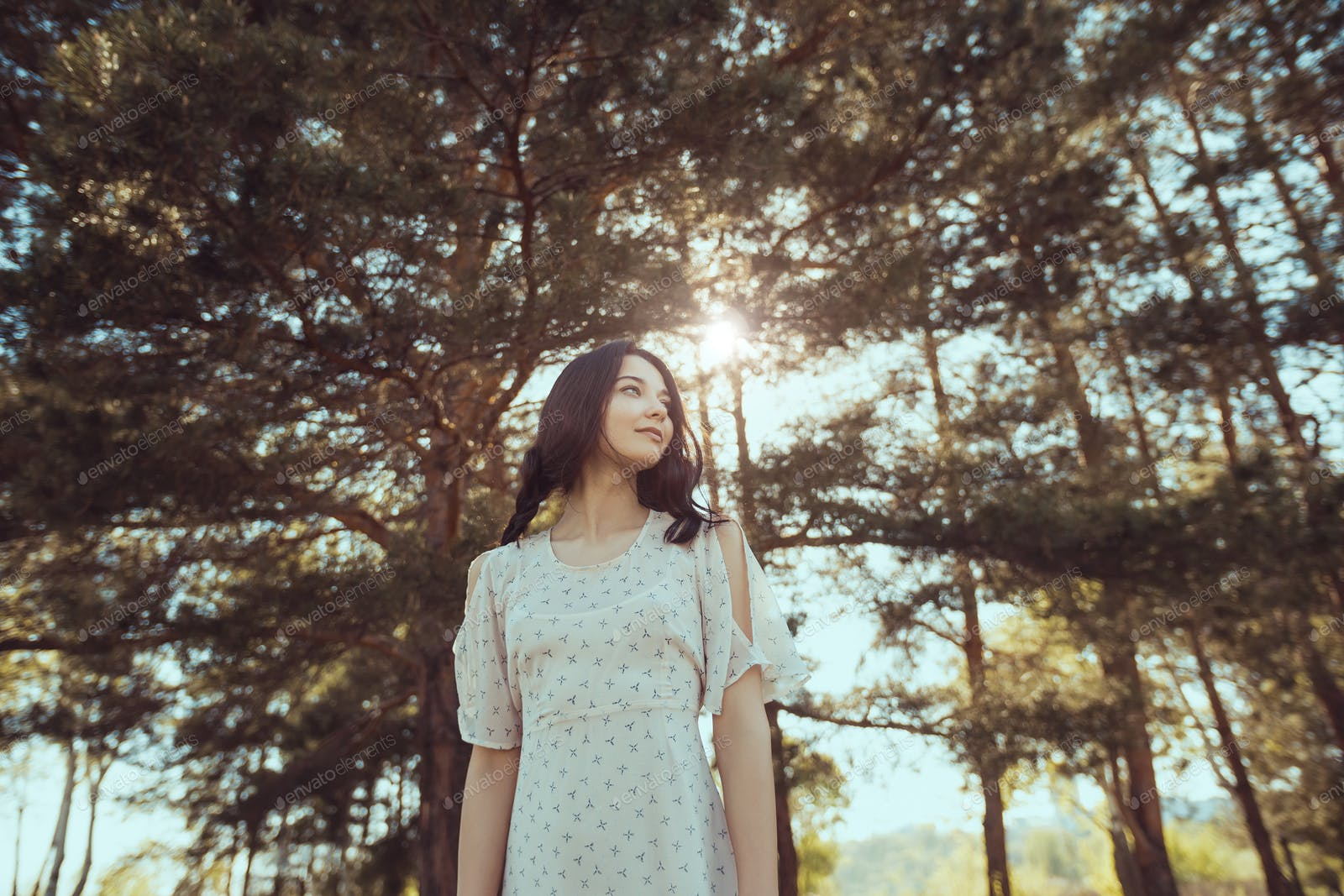Happy Woman In Forest Enjoying Nature Girl Standing Outdoors Photo By Artfotodima On Envato Elements