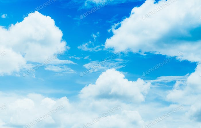 Close-up Blue sky with white fluffy cloudy