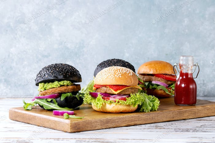 Variety of homemade burgers