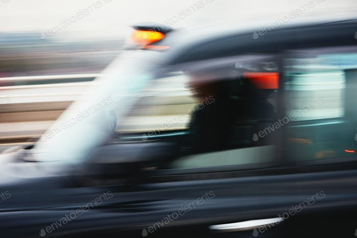 Taxi car in motion