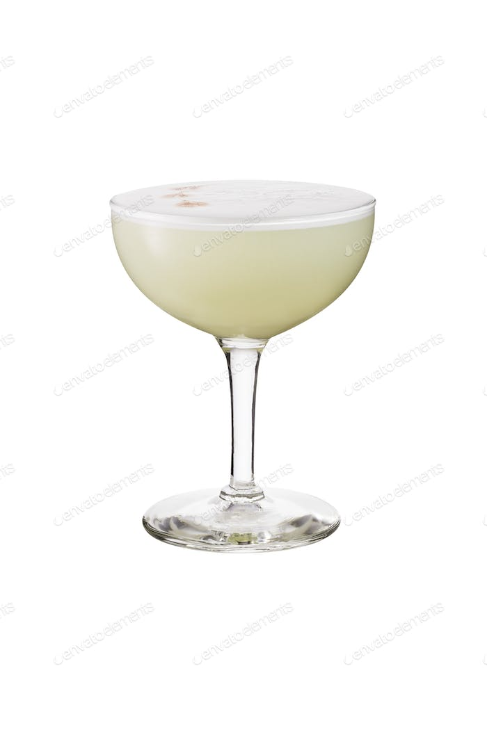 Refreshing Pisco Sour Cocktail on White