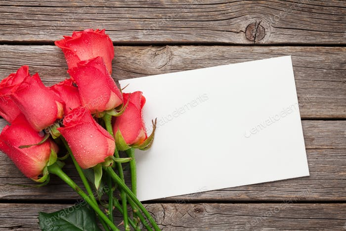 Valentines day greeting card with red roses