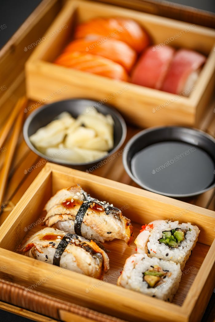 Sushi Set sashimi and sushi rolls