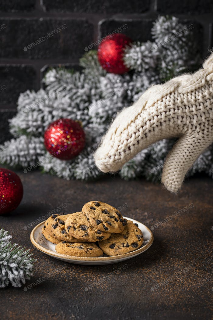Cookies for Santa near the Christmas tree
