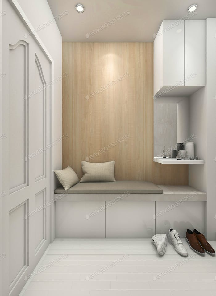 3D rendering entrance seat with shoes and cupboard