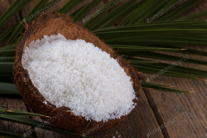 Close up of coconut flakes