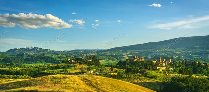 Certaldo Alto town and San Gimignano on background. Florence, Tuscany, Italy