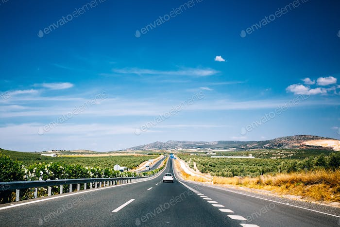 Beautiful asphalt freeway, motorway, highway in Andalusia, Spain