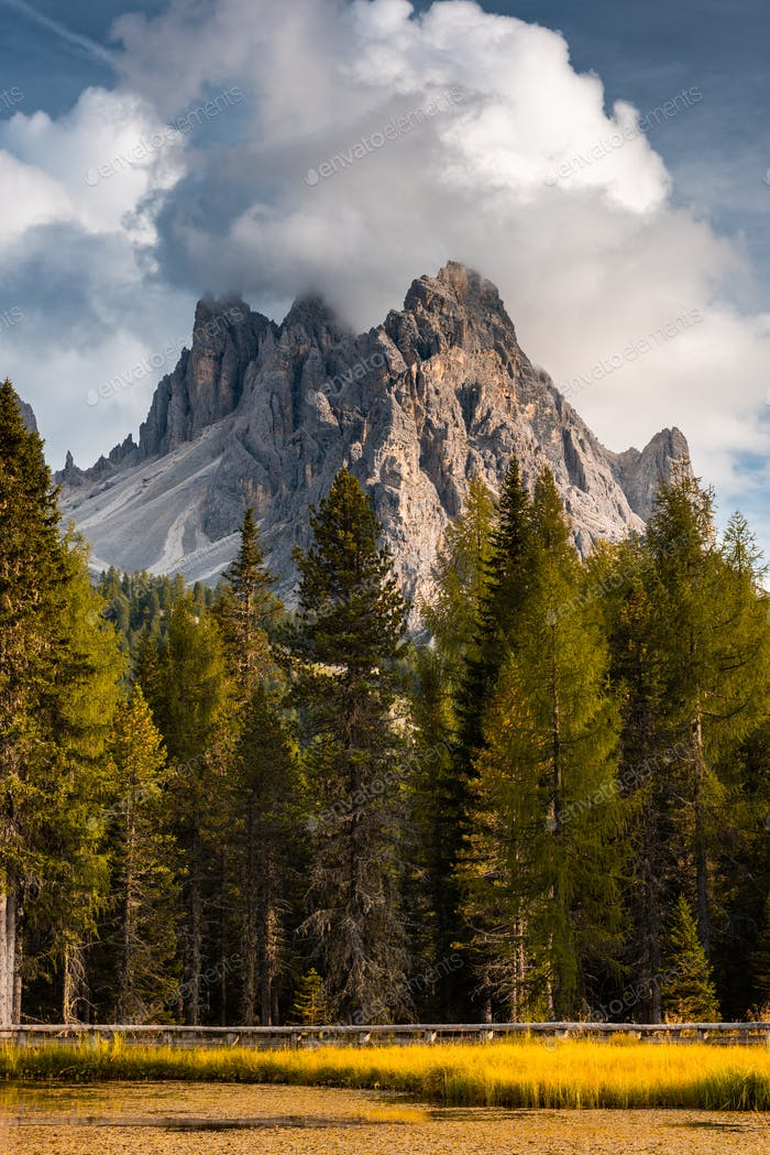 Italian Dolomites Dramatic Peaks at Lake Antorno at Fall Season