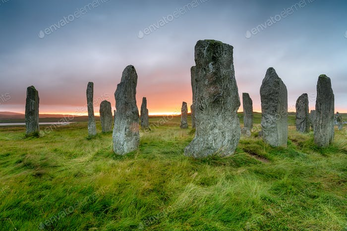 Stormy sunset over the Callanish Stones