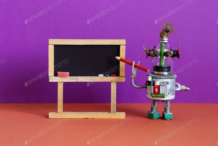 Distance online education concept. Robot teacher red pencil pointer