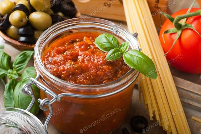 Glass jar with homemade tomato pasta sauce