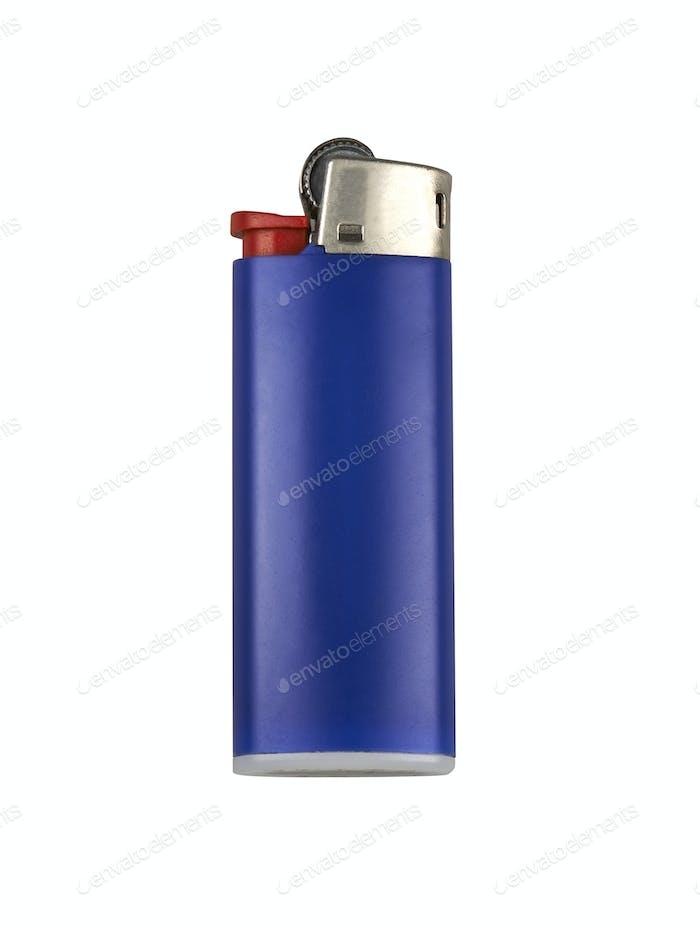 Blue cigarette lighter. Isolated on white.