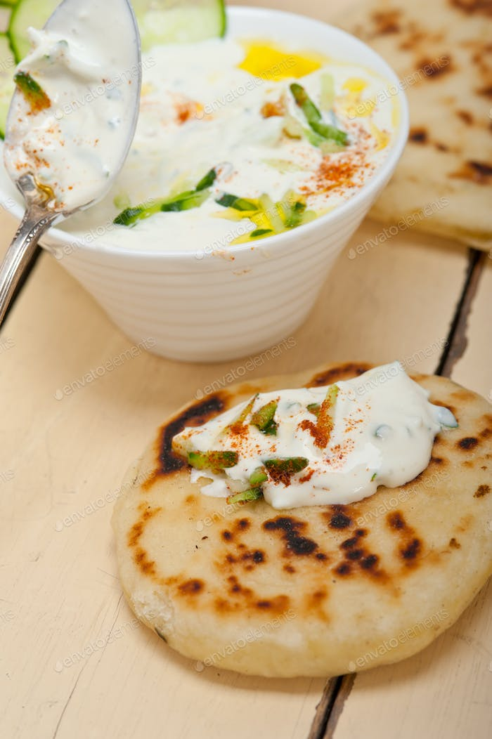 Arab middle east goat yogurt and cucumber salad