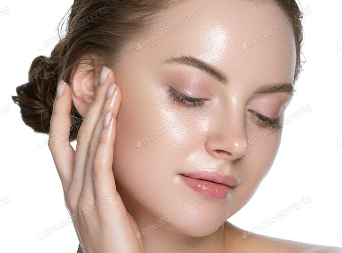 Modern close up view, touching hair woman healthy hydration clean skin face. Isolated white