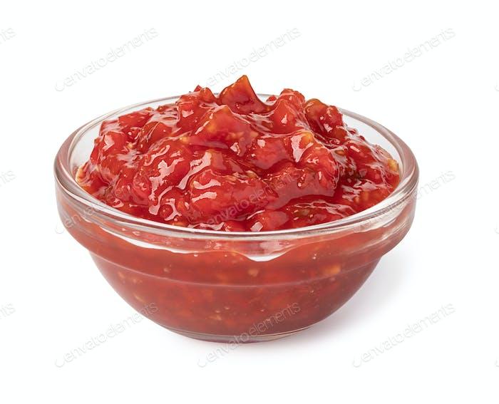 Bowl with salsa sauce