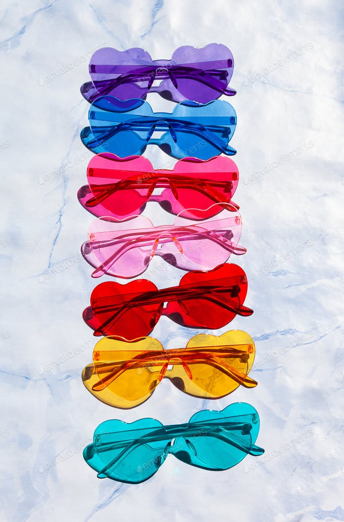 Colorful sunglasses in heart shapes