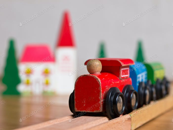 Wooden toy train scene
