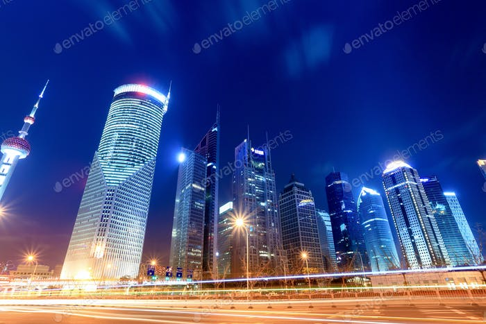 night view of shanghai financial center